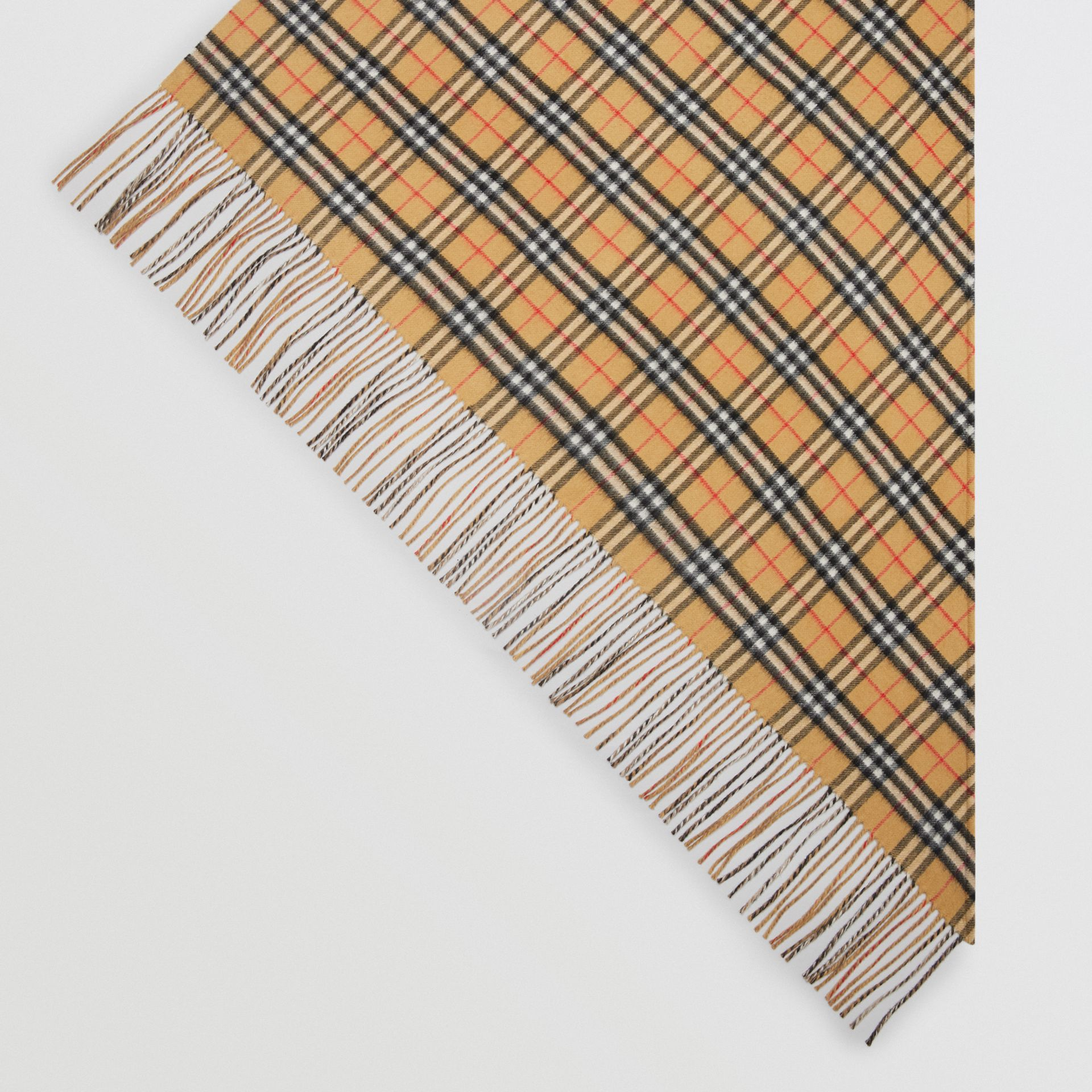 The Burberry Bandana in Vintage Check Cashmere in Sandstone | Burberry - gallery image 4