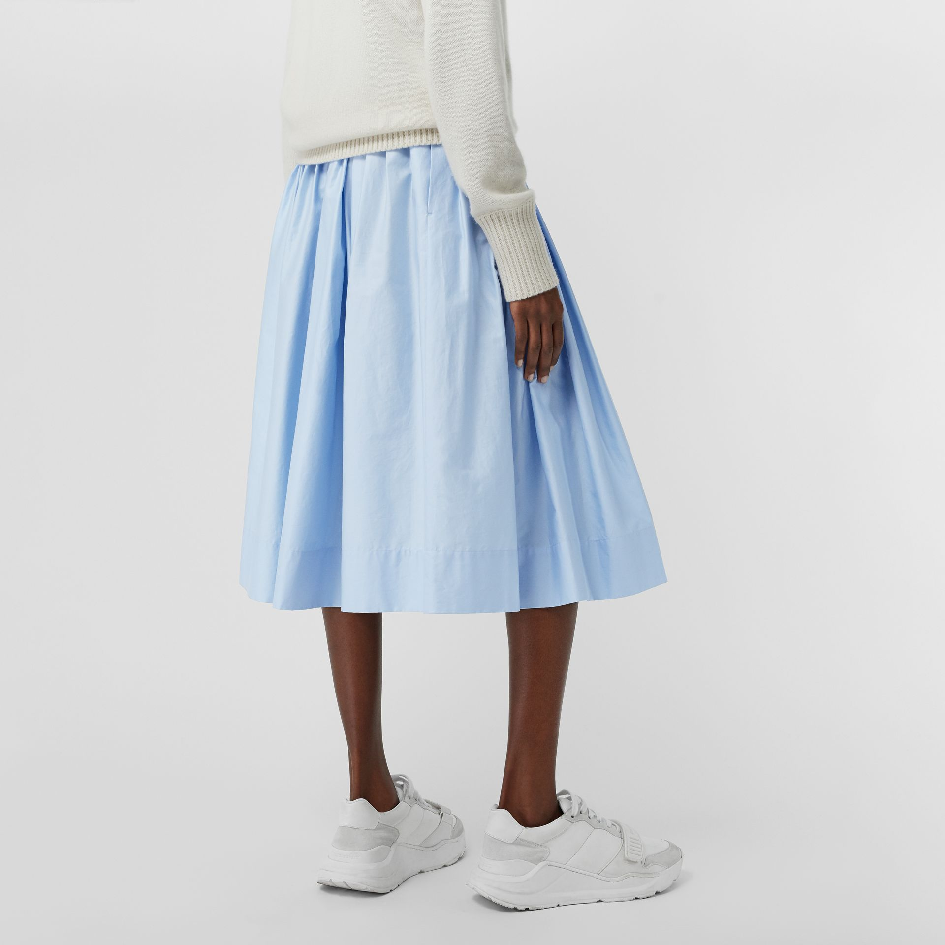 Rainbow Print Cotton Sateen Skirt in Light Blue - Women | Burberry Singapore - gallery image 2