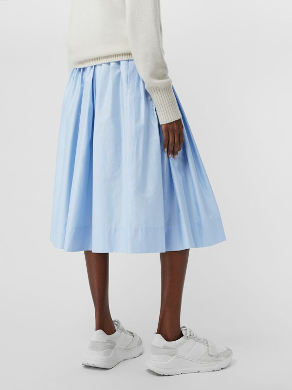 Rainbow Print Cotton Sateen Skirt in Light Blue - Women | Burberry Singapore - cell image 2