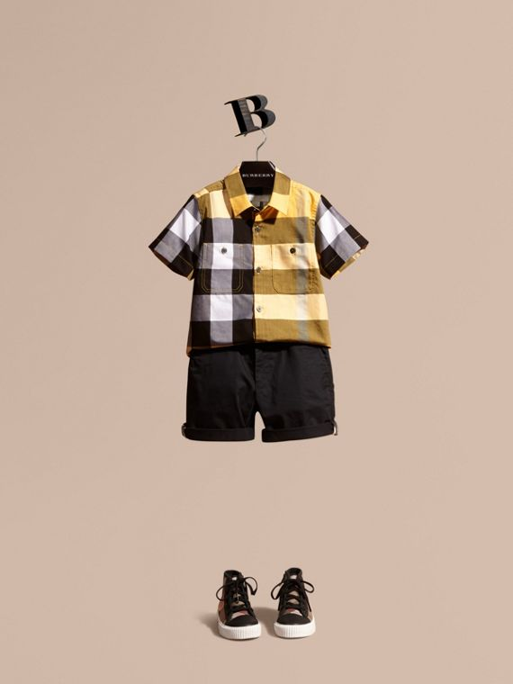 Short-sleeved Check Cotton Shirt Bright Yellow