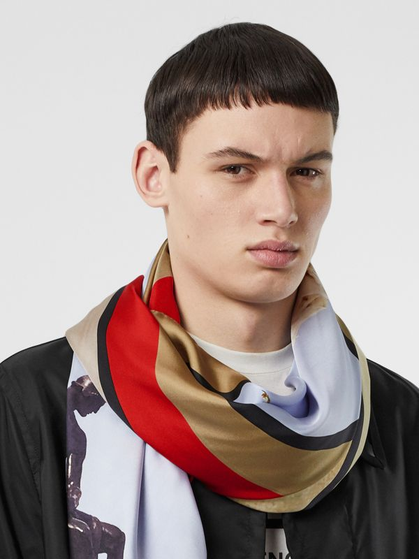 Montage Print Silk Large Square Scarf in Beige Red | Burberry - cell image 3