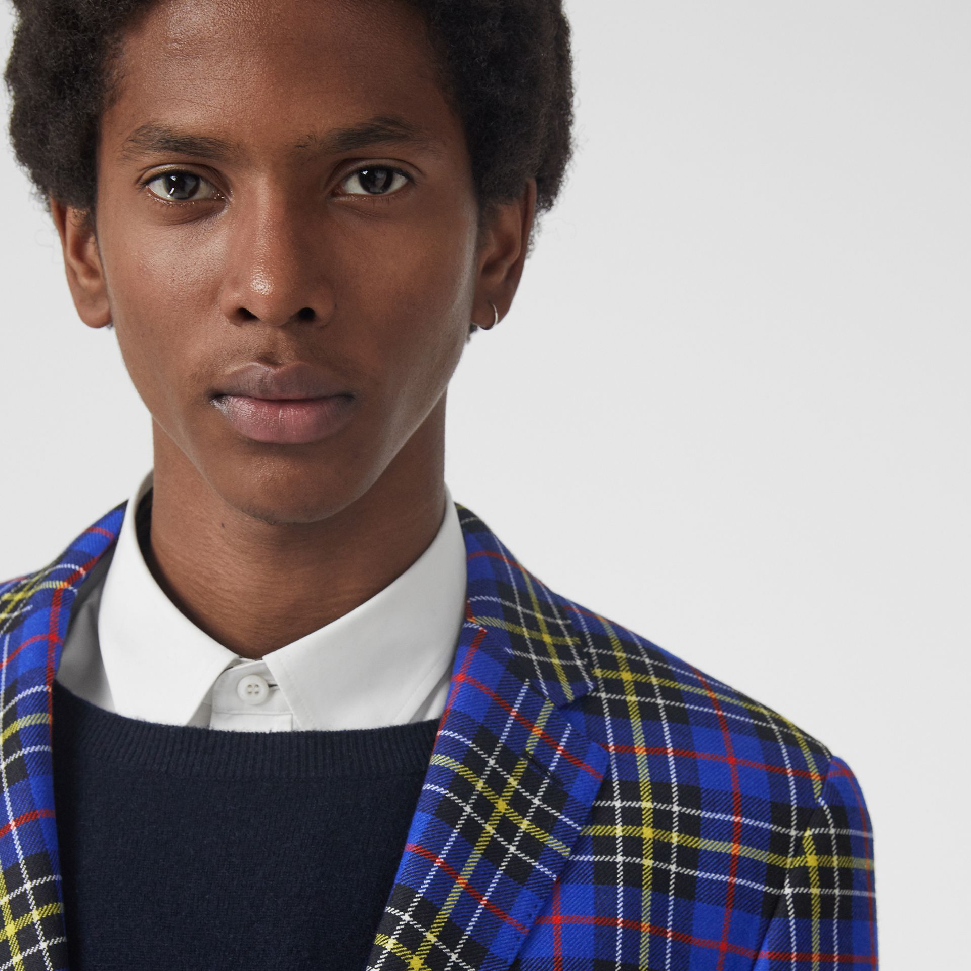 Classic Fit Tartan Wool Tailored Jacket in Sapphire Blue - Men | Burberry Singapore - gallery image 1