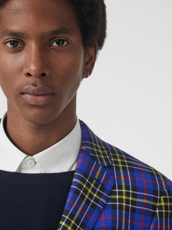 Classic Fit Tartan Wool Tailored Jacket in Sapphire Blue - Men | Burberry Canada - cell image 1