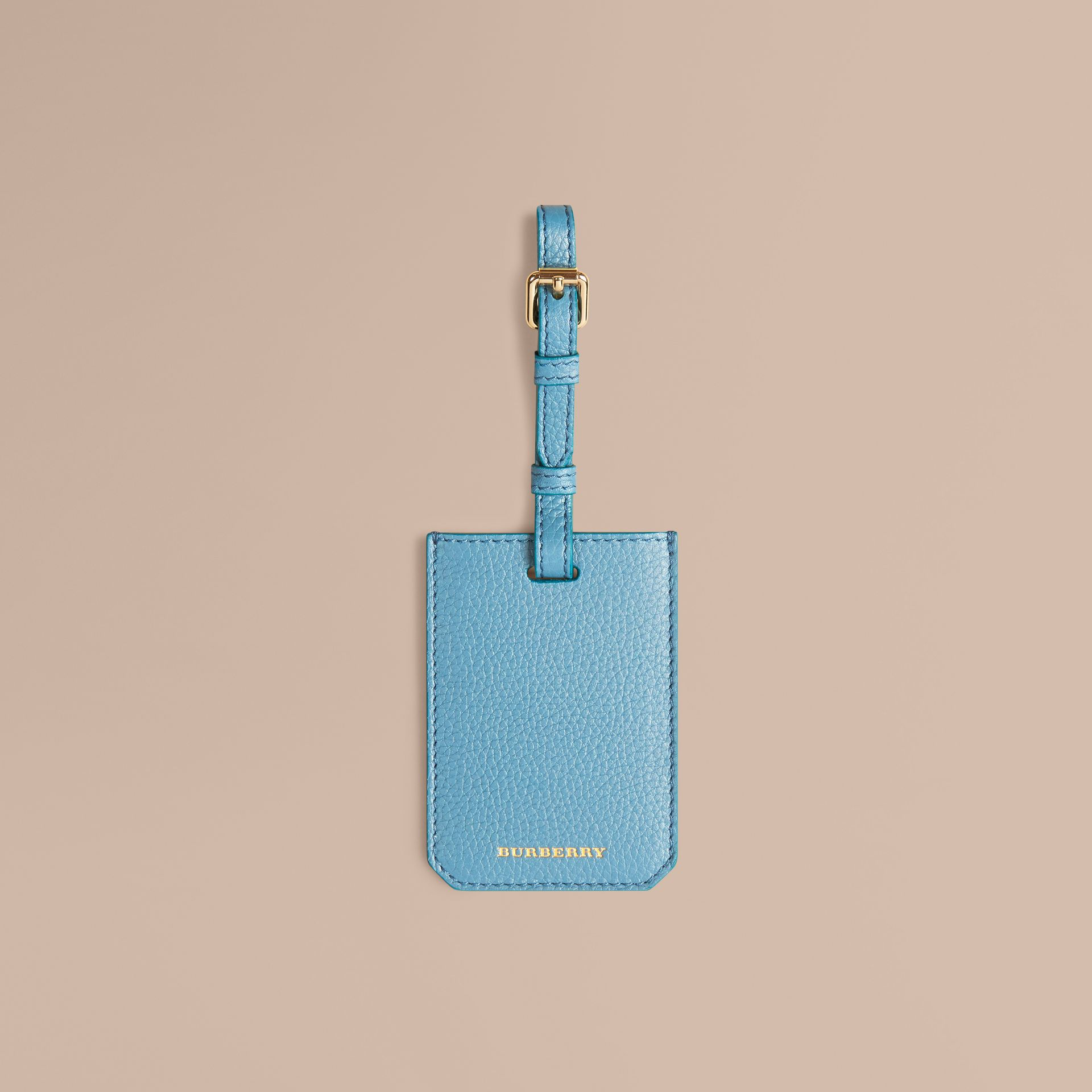 Bright mineral blue Grainy Leather Luggage Tag Bright Mineral Blue - gallery image 1