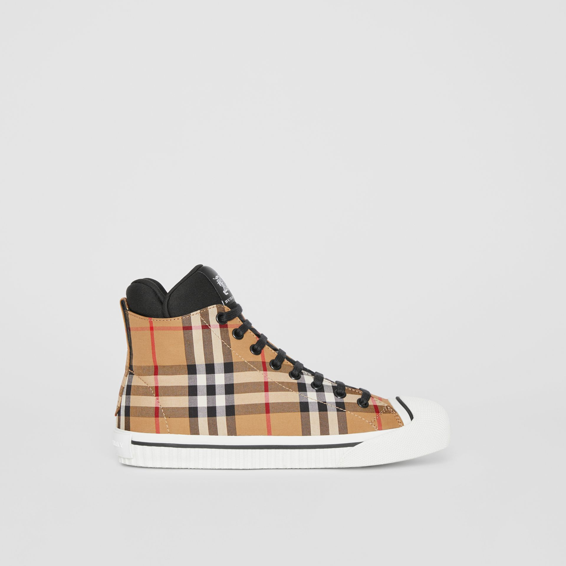 Vintage Check and Neoprene High-top Sneakers in Antique Yellow - Women | Burberry - gallery image 5