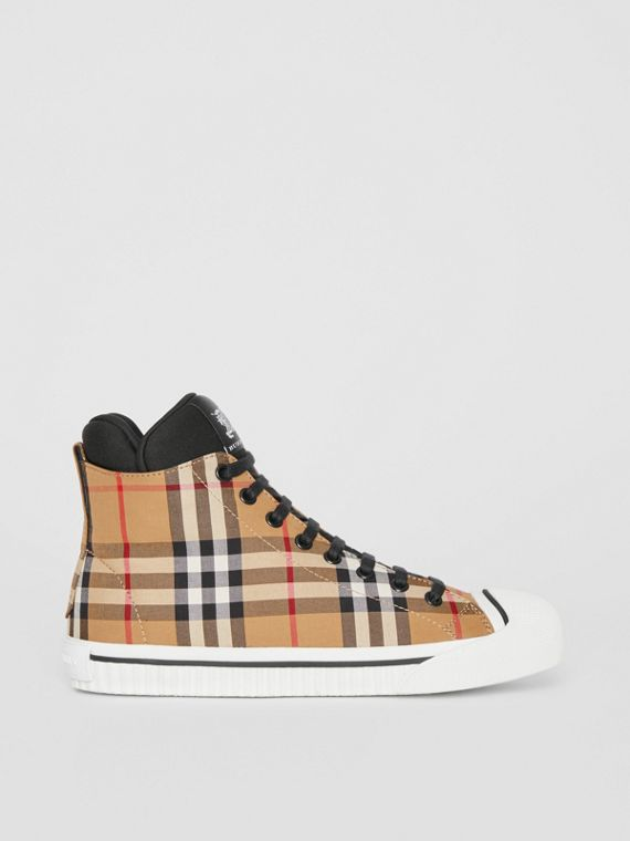 Vintage Check and Neoprene High-top Sneakers in Antique Yellow