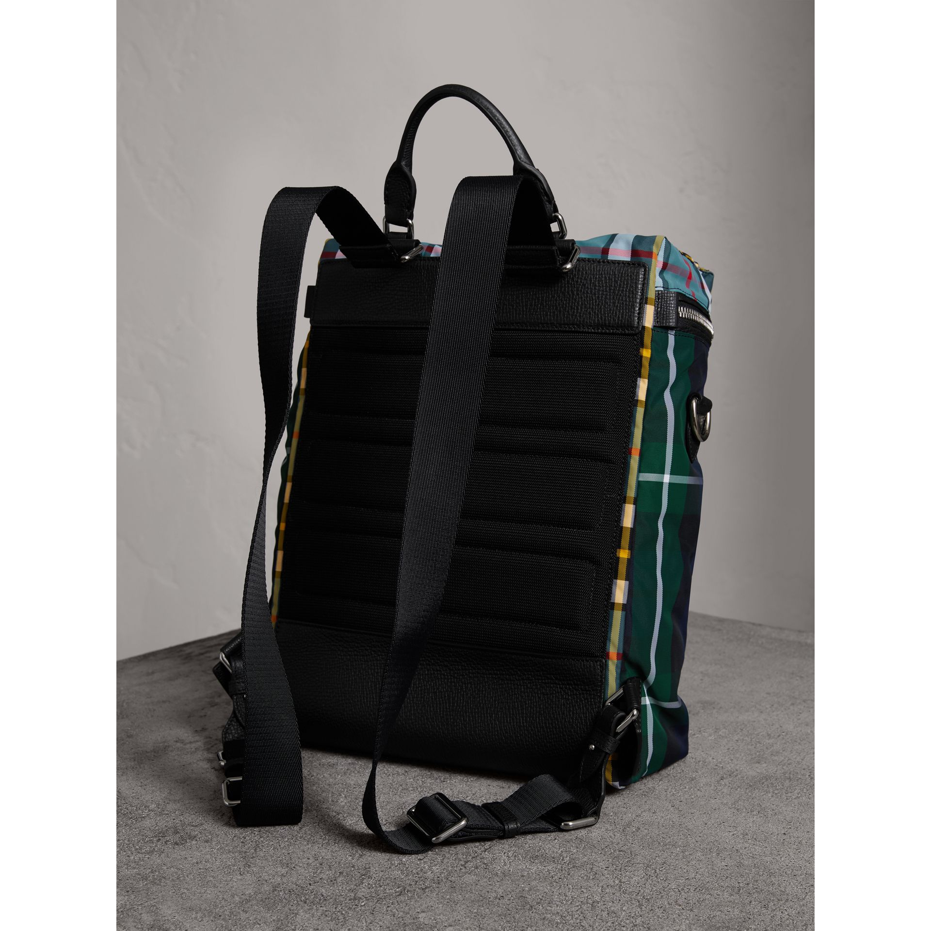 Zip-top Leather Trim Tartan Backpack in Forest Green - Men | Burberry - gallery image 3