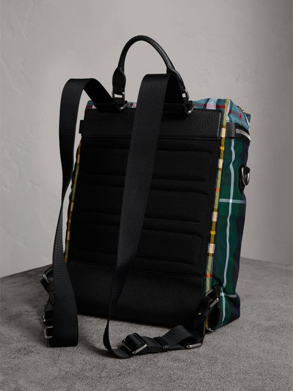 Zip-top Leather Trim Tartan Backpack in Forest Green - Men | Burberry United States - cell image 3