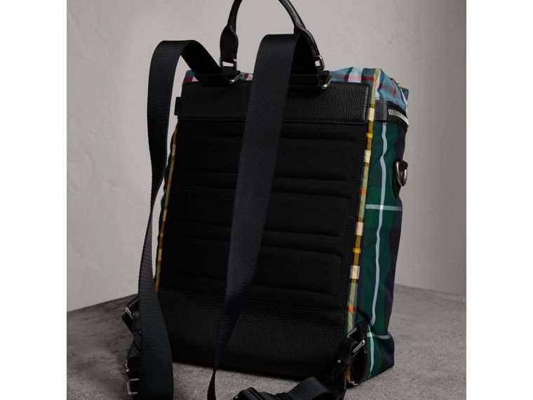 Zip-top Leather Trim Tartan Backpack in Forest Green - Men | Burberry Singapore - cell image 4