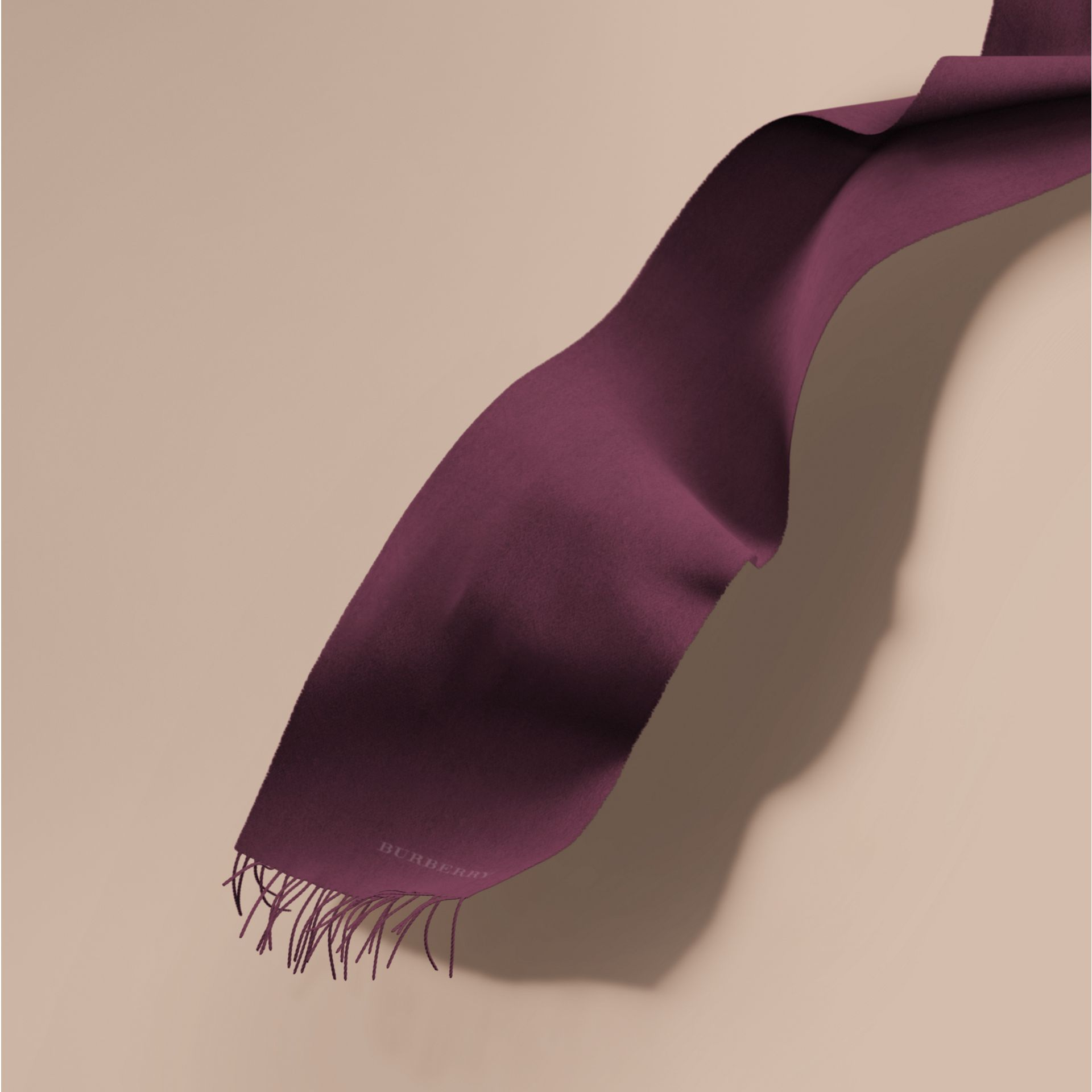 The Classic Cashmere Scarf in Aubergine - gallery image 1