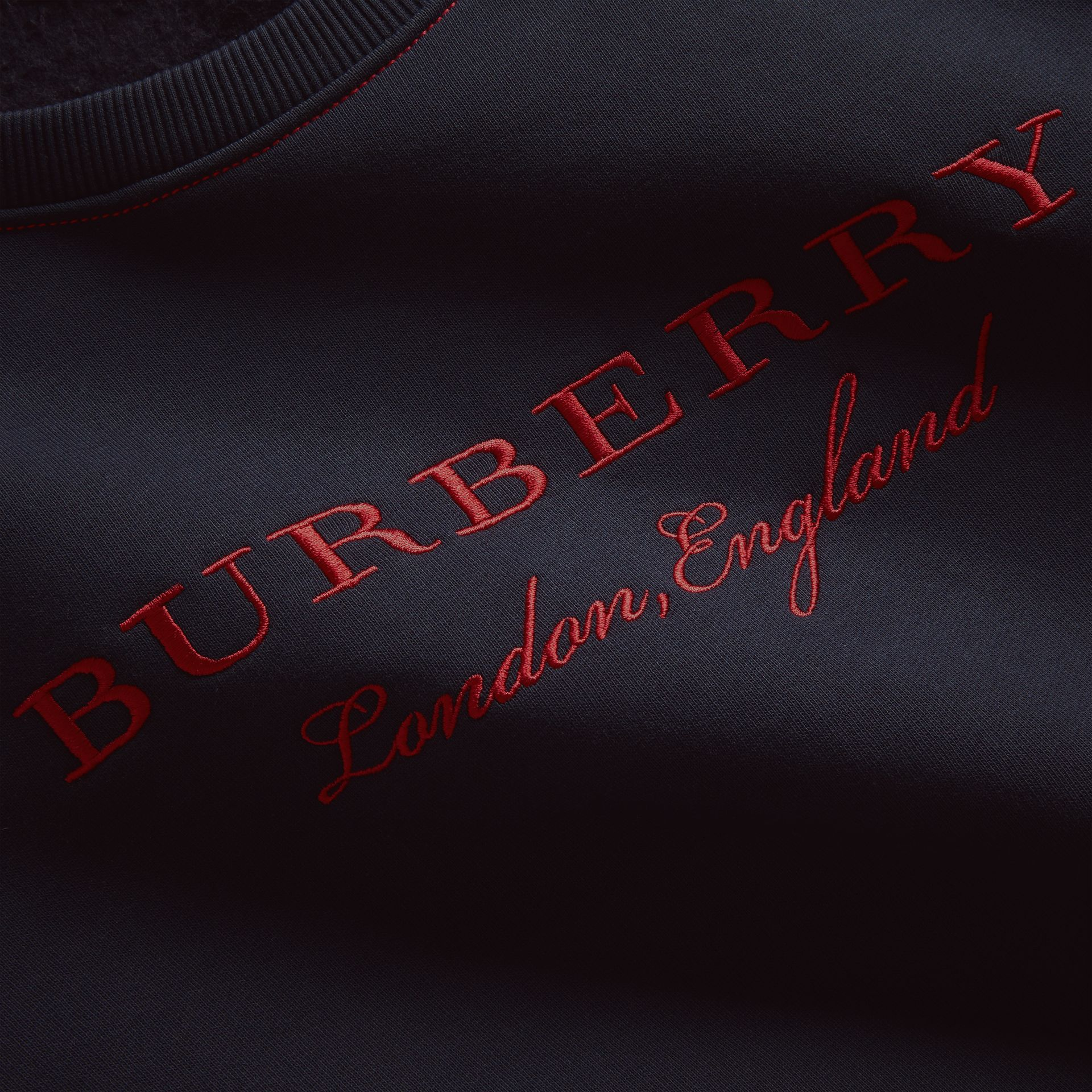 Embroidered Cotton Blend Jersey Sweatshirt in Navy - Women | Burberry - gallery image 2