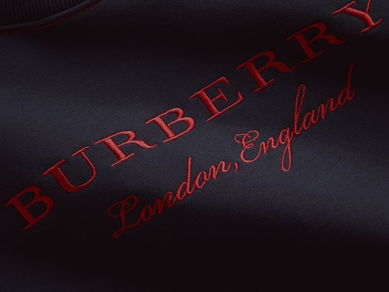 Embroidered Cotton Blend Jersey Sweatshirt in Navy - Women | Burberry Canada - cell image 1