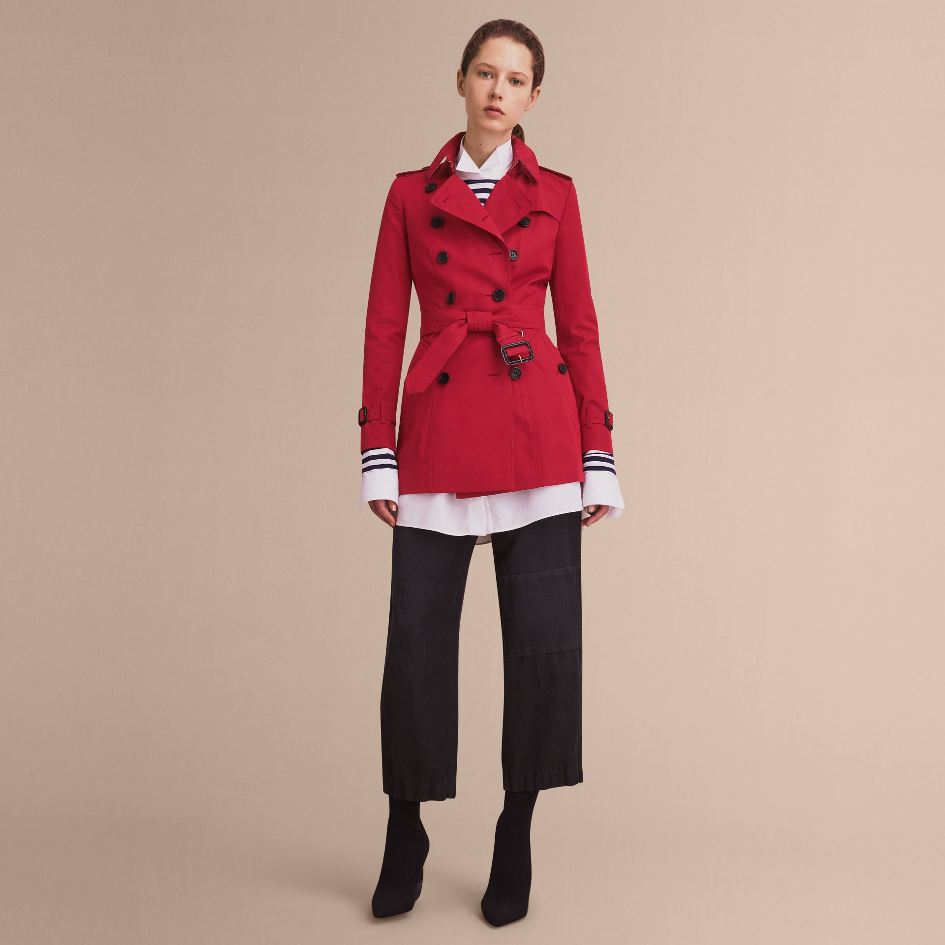 The Chelsea – Short Heritage Trench Coat in Parade Red - gallery image 1