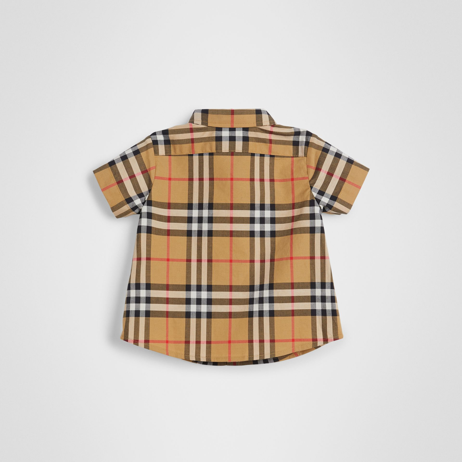 Short-sleeve Vintage Check Cotton Shirt in Antique Yellow - Children | Burberry United Kingdom - gallery image 3