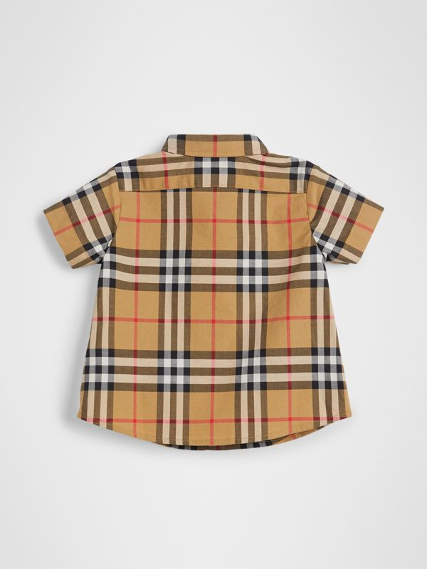 Short-sleeve Vintage Check Cotton Shirt in Antique Yellow - Children | Burberry United Kingdom - cell image 3