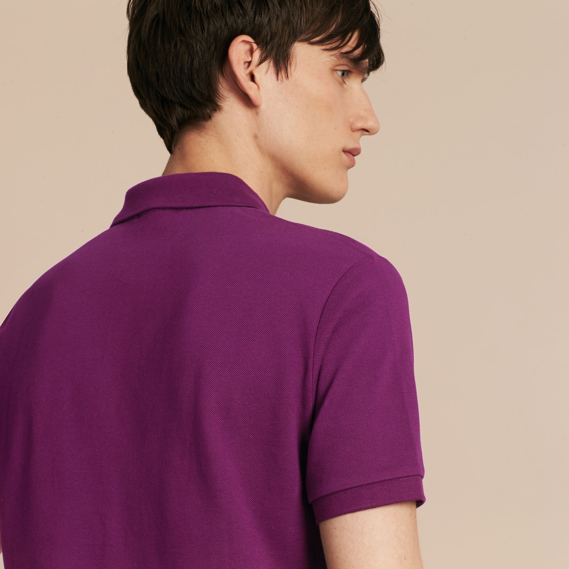 Check Placket Cotton Piqué Polo Shirt in Deep Purple Amethyst - gallery image 3