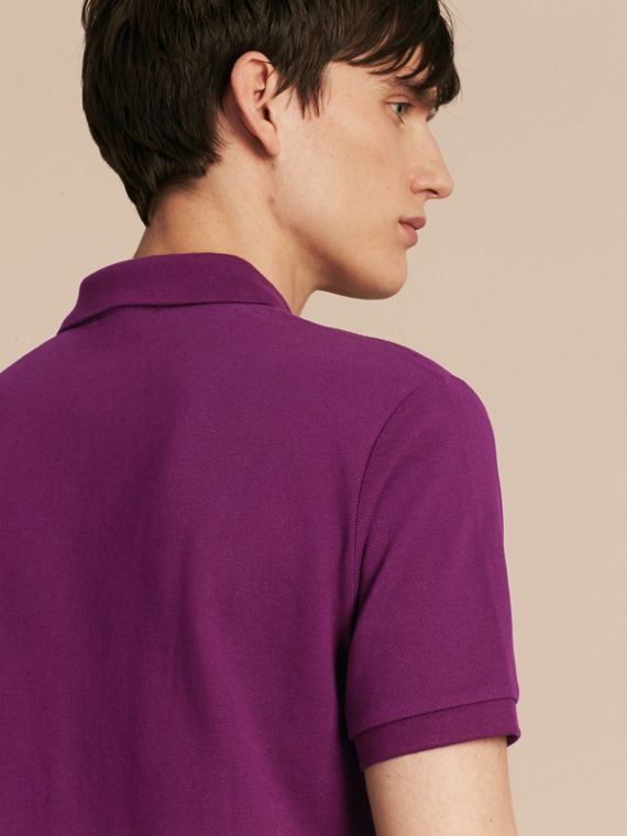 Check Placket Cotton Piqué Polo Shirt in Deep Purple Amethyst - cell image 2