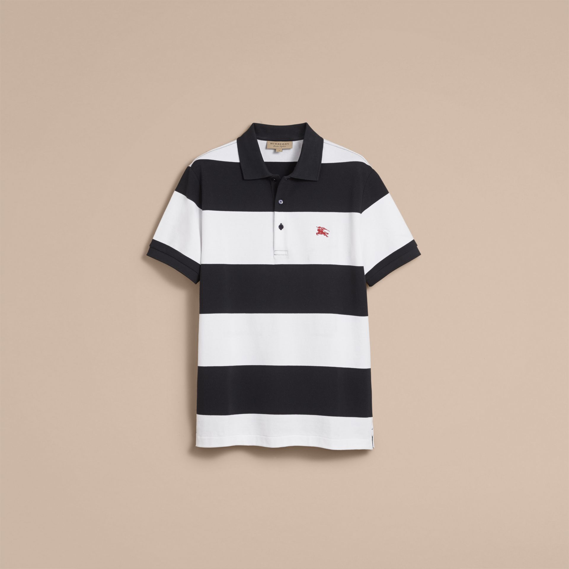 Striped Cotton Piqué Polo Shirt in White/navy - Men | Burberry - gallery image 4