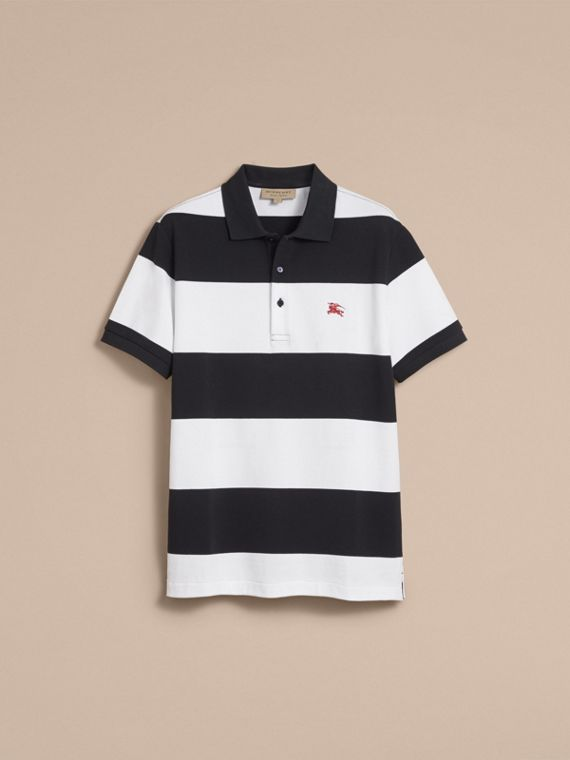 Striped Cotton Piqué Polo Shirt in White/navy - Men | Burberry - cell image 3