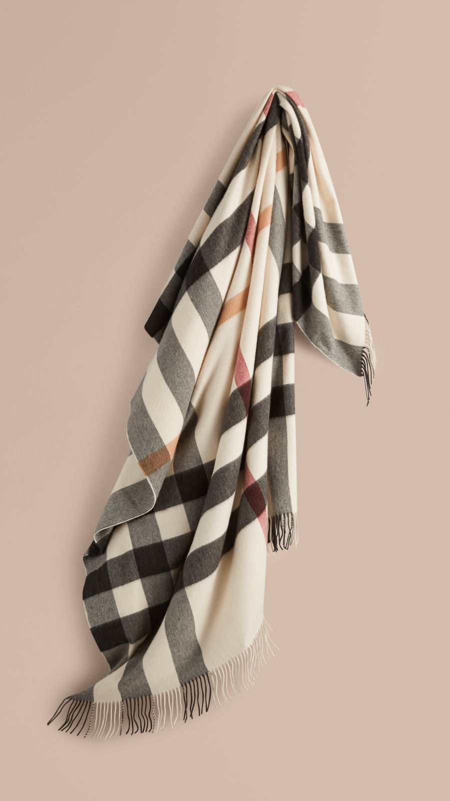 Ivory check Check Cashmere Blanket - Image 1