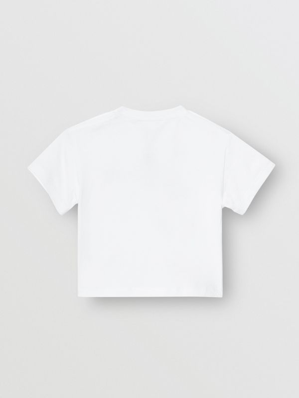 Logo Print Cotton T-shirt in White - Children | Burberry United Kingdom - cell image 3