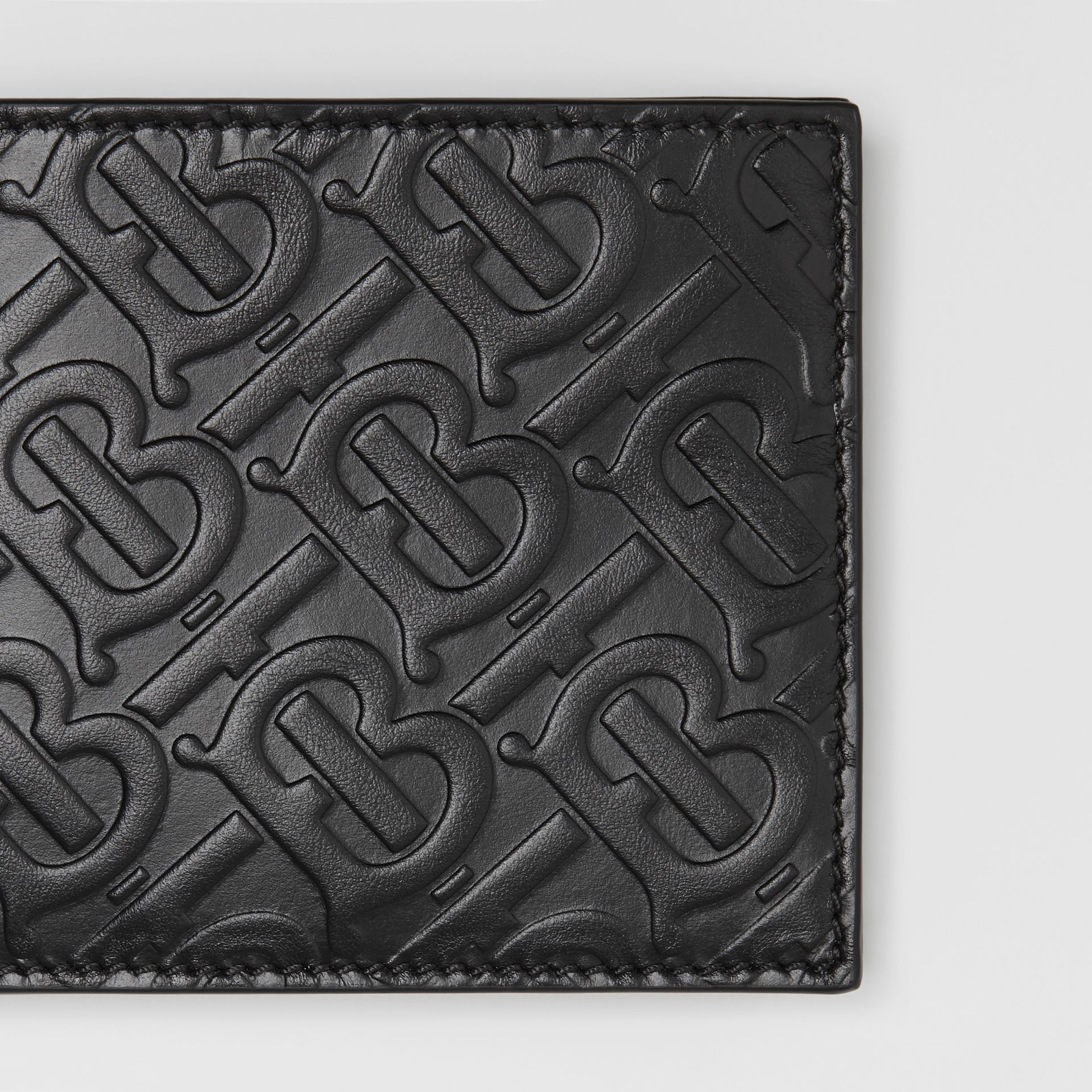 Monogram Leather Bifold Wallet with ID Card Case in Black - Men | Burberry - gallery image 1