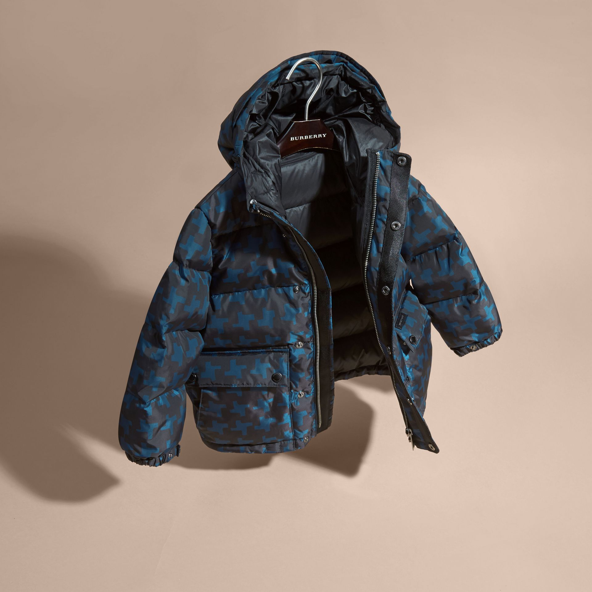 Mineral blue Printed High-shine Down-filled Puffer Coat - gallery image 3
