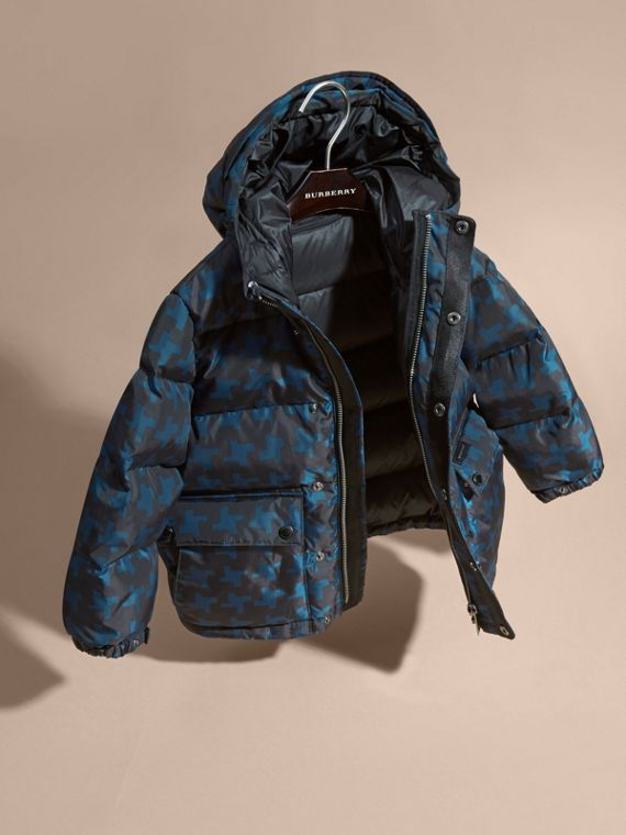 Mineral blue Printed High-shine Down-filled Puffer Coat - cell image 2