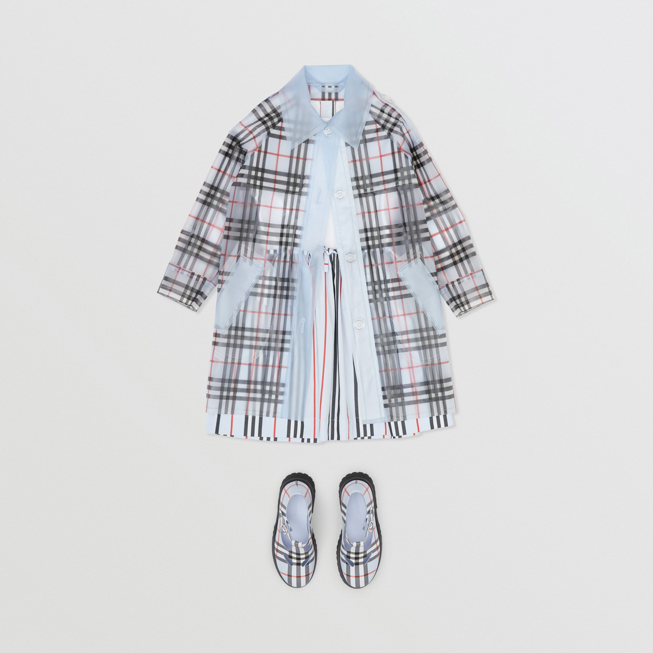 Check Print Showerproof Trench Coat in Pale Blue | Burberry - 3