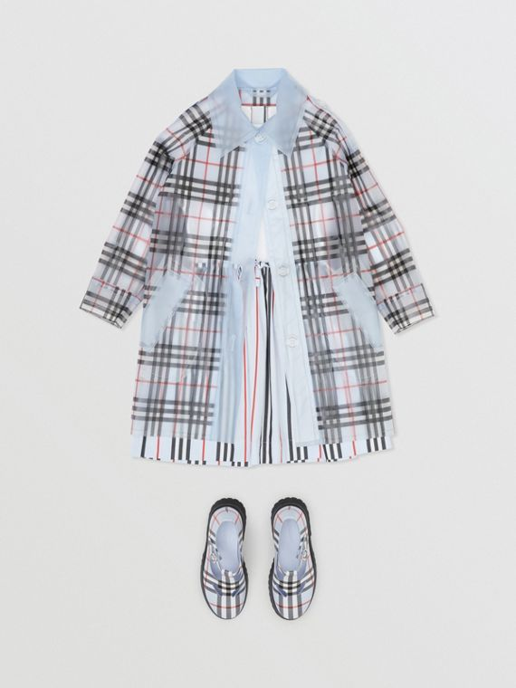 Check Print Showerproof Trench Coat in Pale Blue
