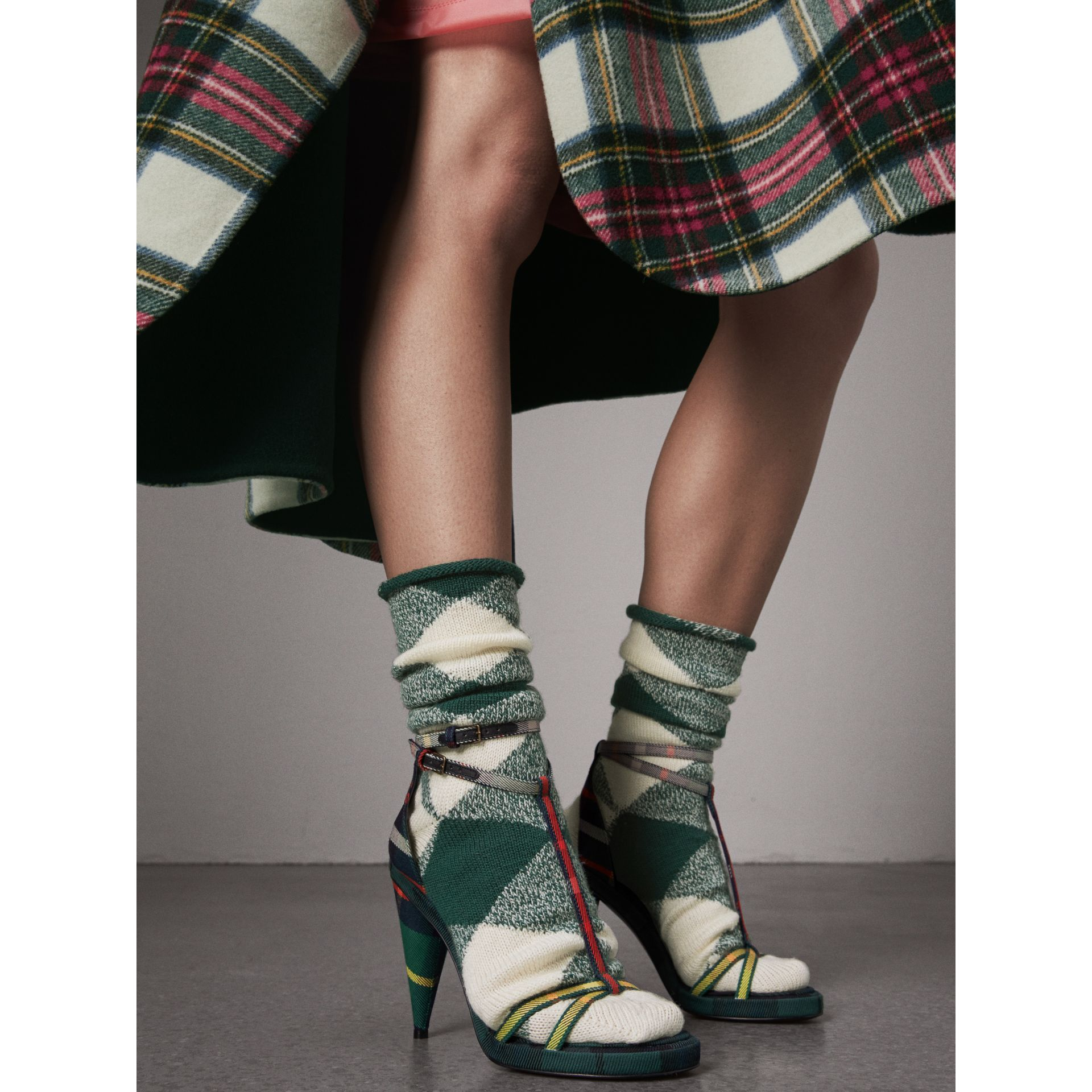 Tartan Cotton High Cone-heel Sandals in Forest Green - Women | Burberry Australia - gallery image 3