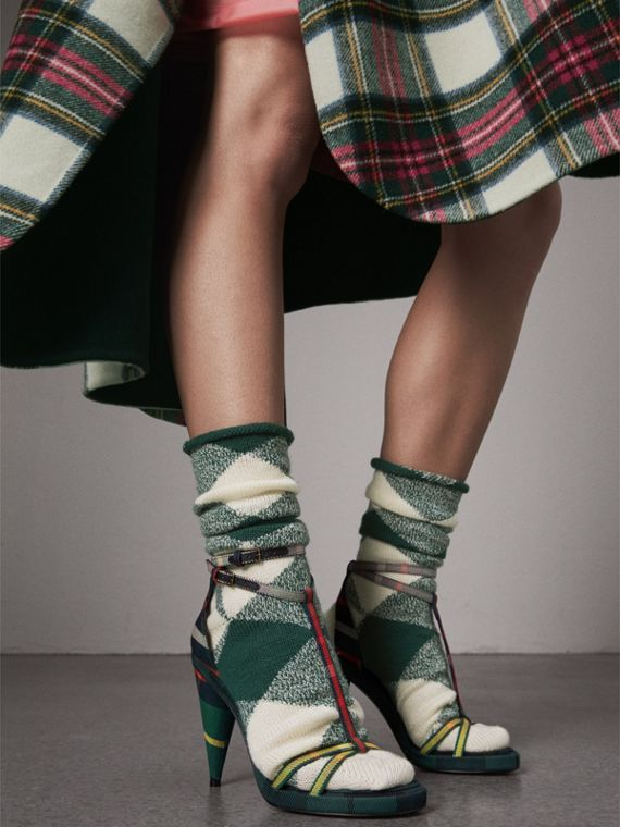 Tartan Cotton High Cone-heel Sandals in Forest Green - Women | Burberry - cell image 2