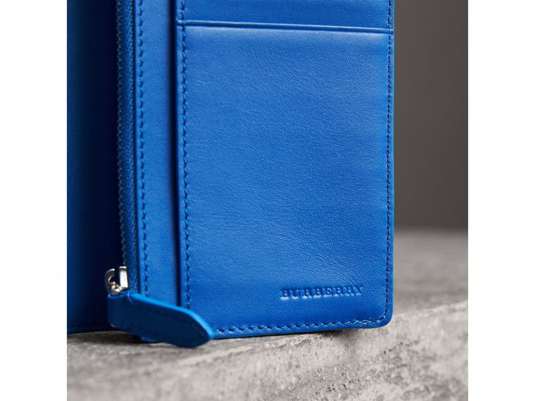 London Check and Leather Continental Wallet in Navy/ Blue - Men | Burberry - cell image 1