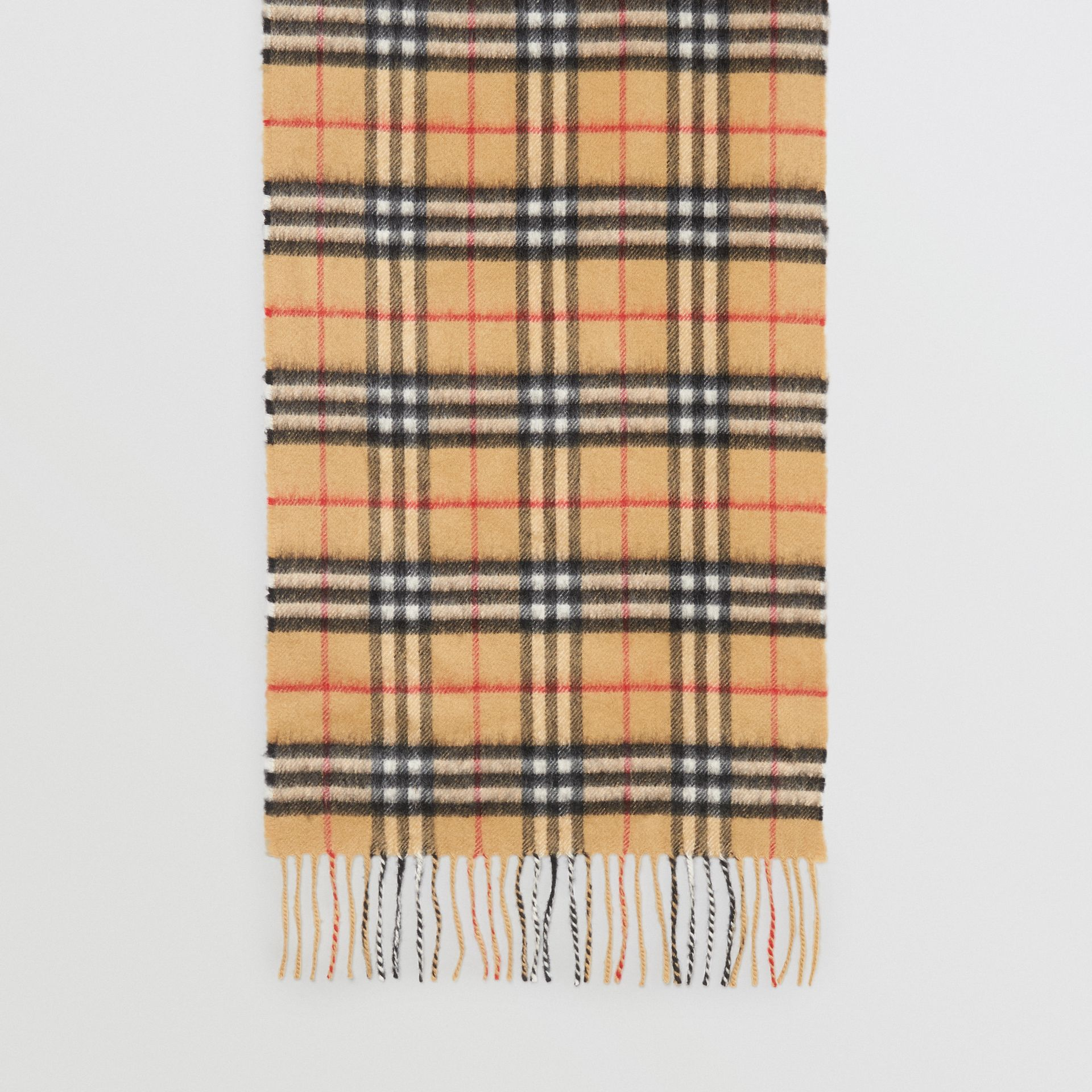 The Classic Vintage Check Cashmere Scarf in Antique Yellow | Burberry Australia - gallery image 4