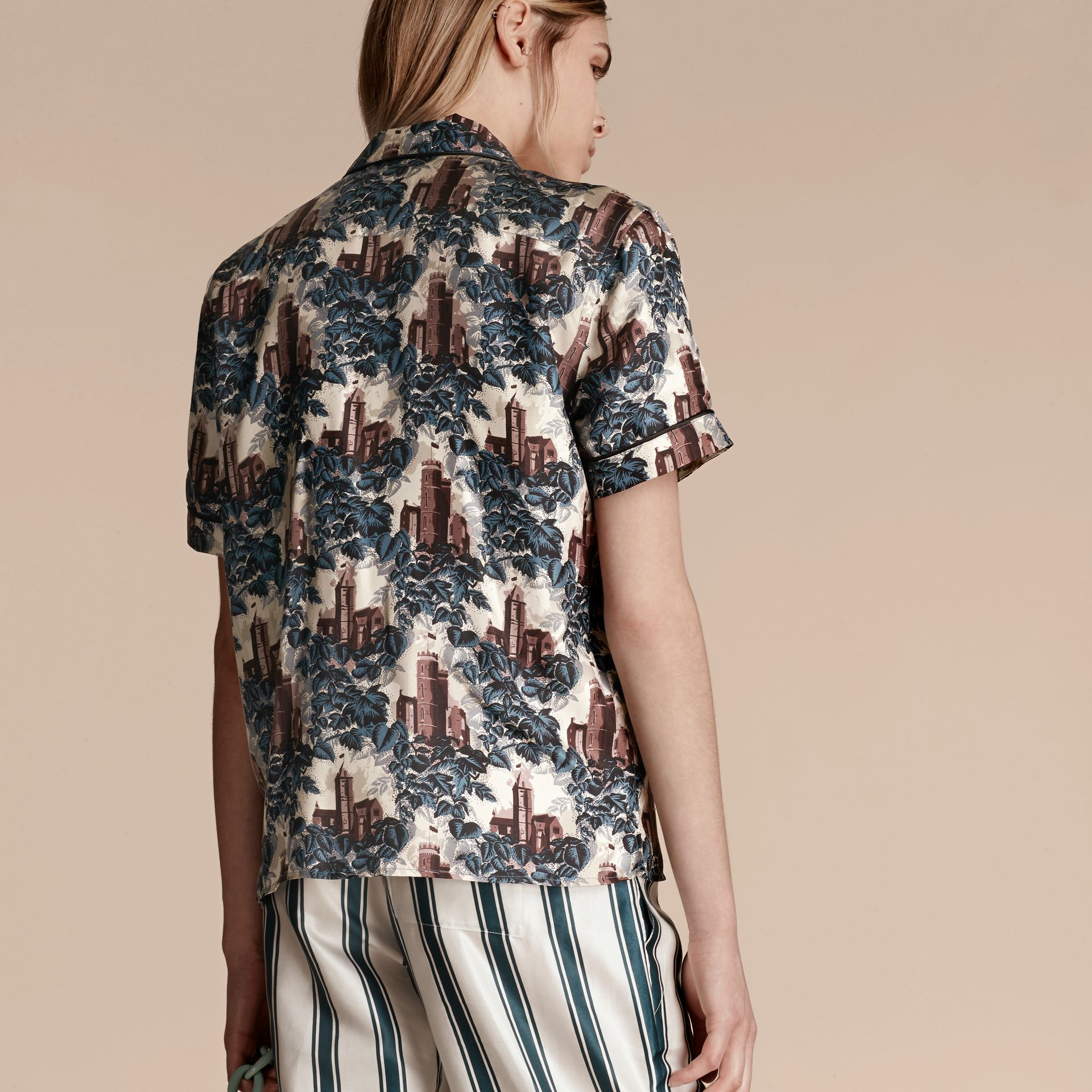 Airforce blue Short-sleeved Castle Print Silk Pyjama-style Shirt - gallery image 3