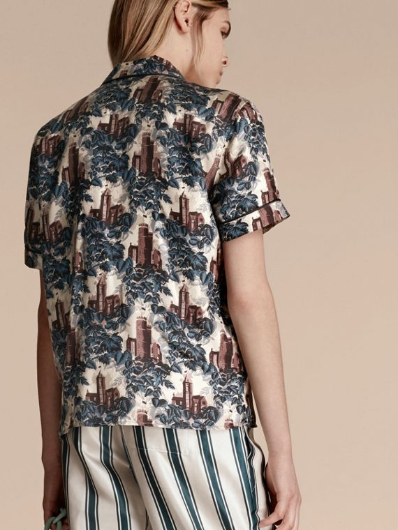 Airforce blue Short-sleeved Castle Print Silk Pyjama-style Shirt - cell image 2