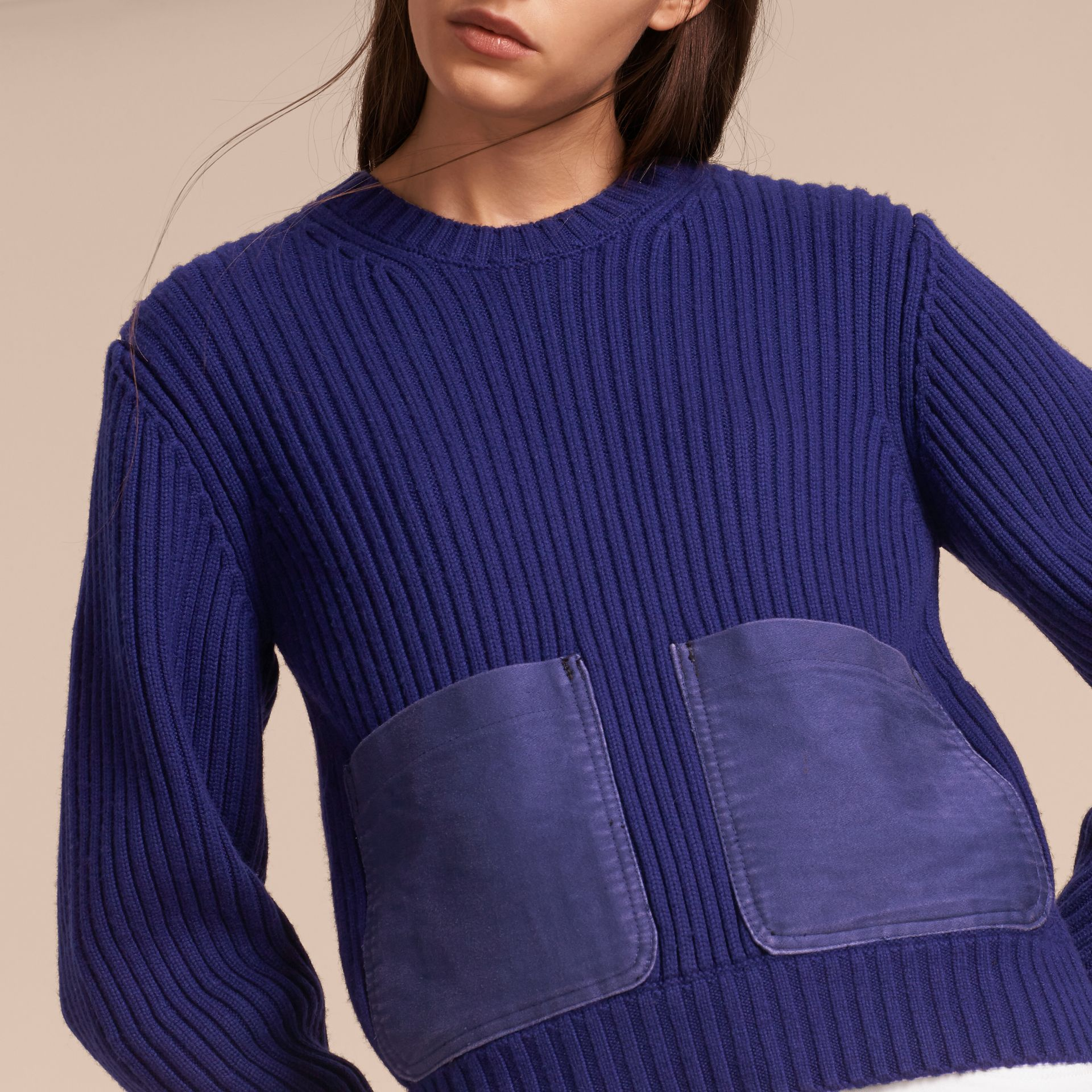 Oversize Pocket Detail Rib Knit Cashmere Cotton Sweater in Bright Navy - Women | Burberry - gallery image 5
