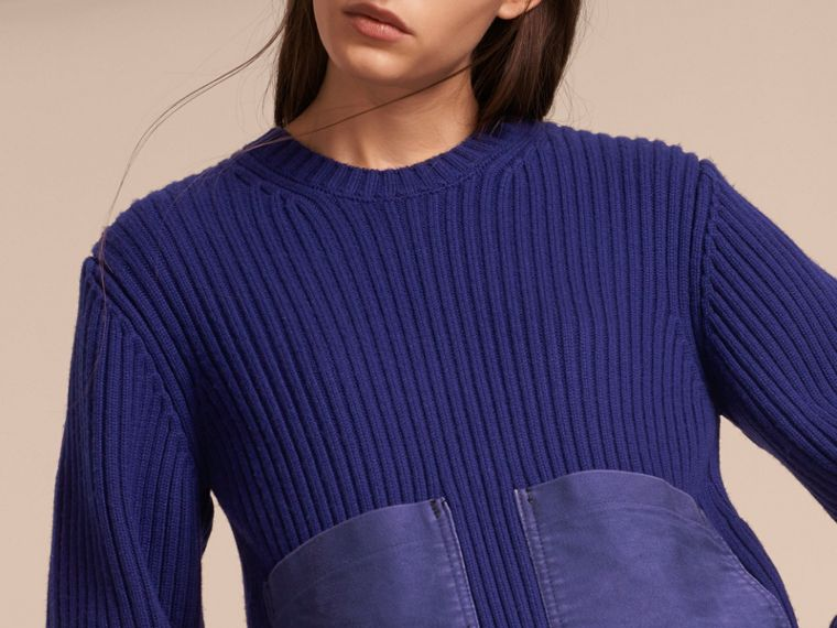 Oversize Pocket Detail Rib Knit Cashmere Cotton Sweater in Bright Navy - Women | Burberry - cell image 4