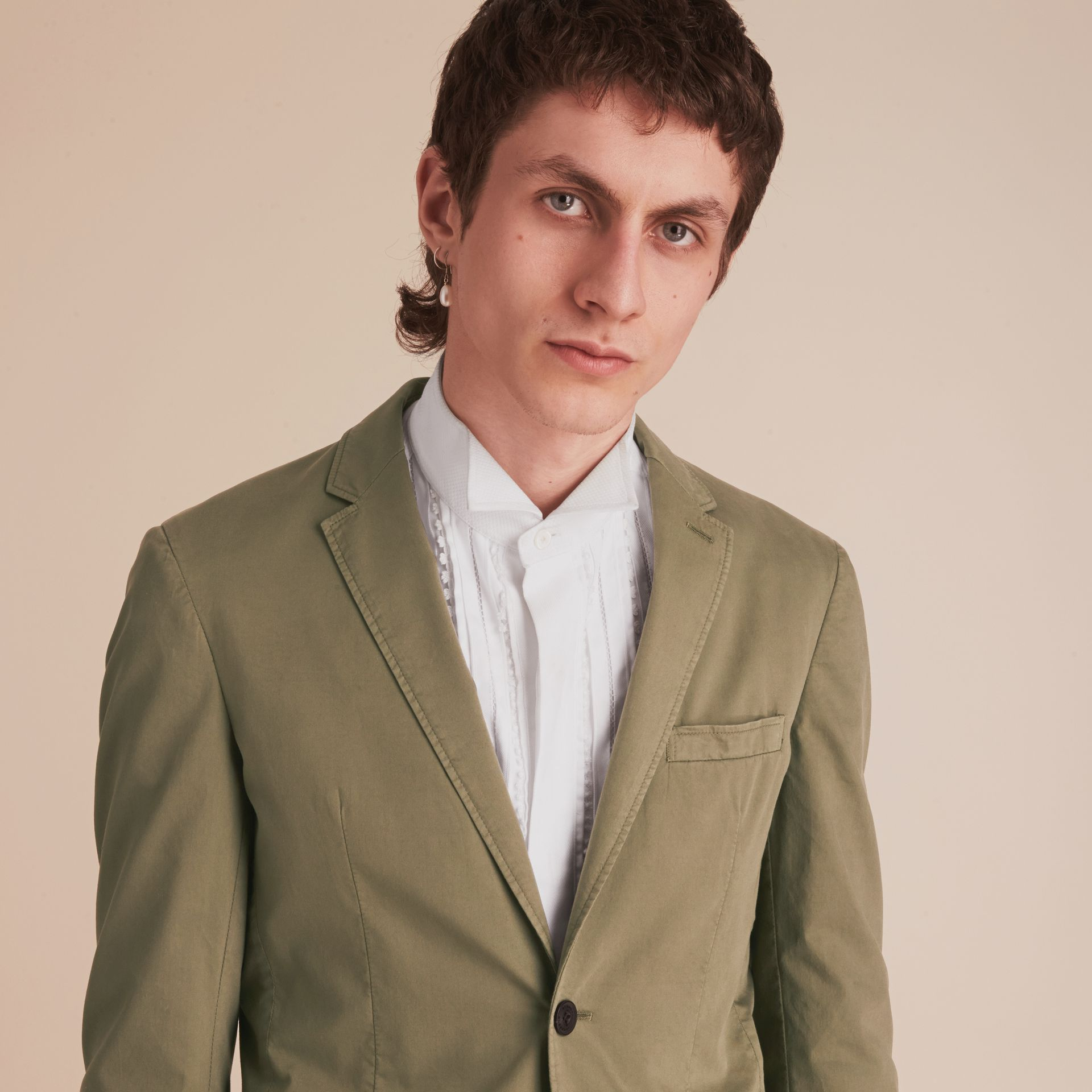 Slim Fit Stretch-cotton Blazer Khaki Green - gallery image 5