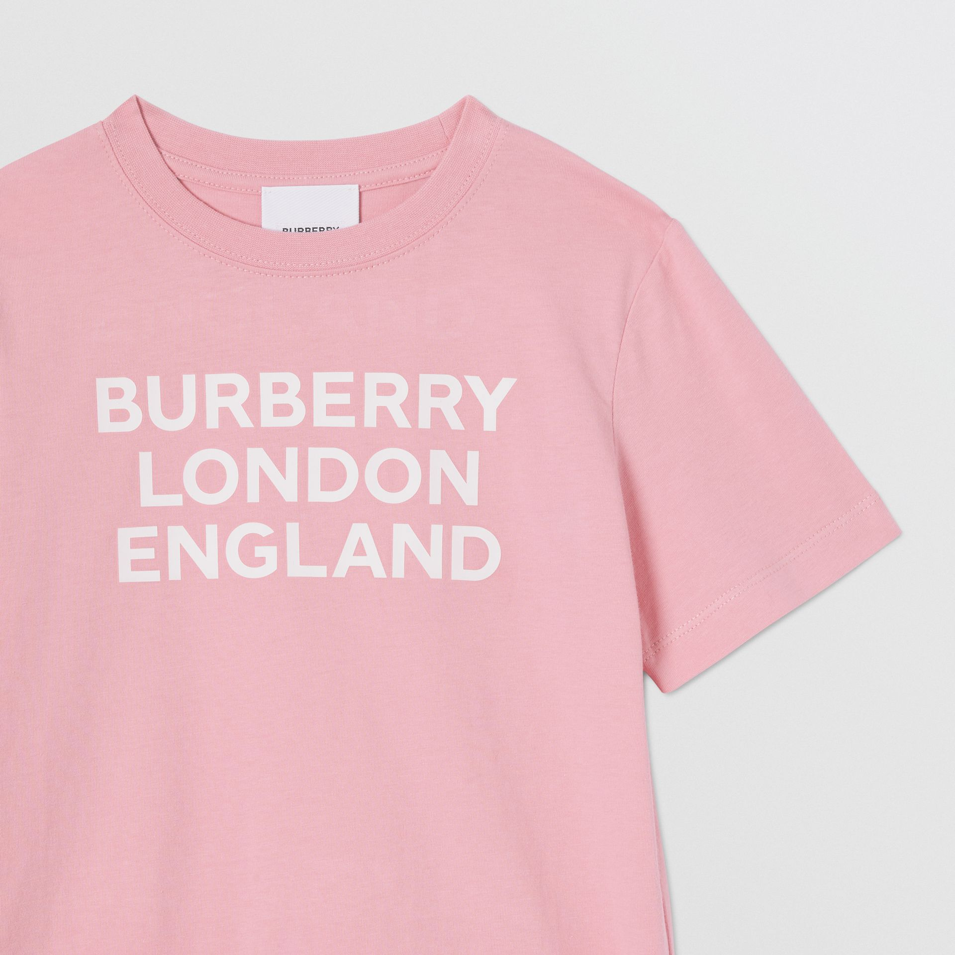 Logo Print Cotton T-shirt in Candy Pink | Burberry United Kingdom - gallery image 4