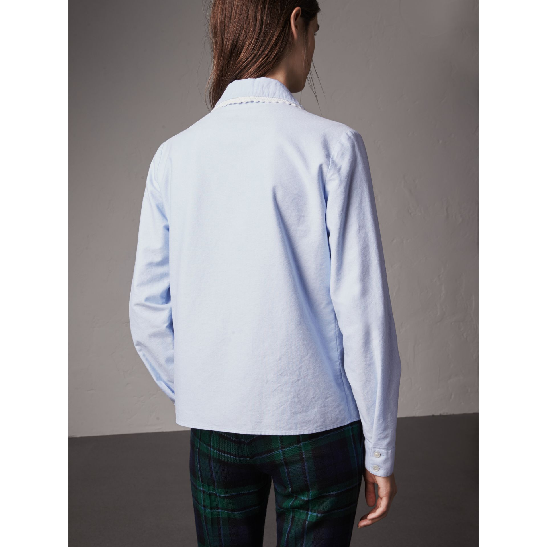 Lace-trimmed Round Collar Cotton Shirt in Cornflower Blue - Women | Burberry - gallery image 2
