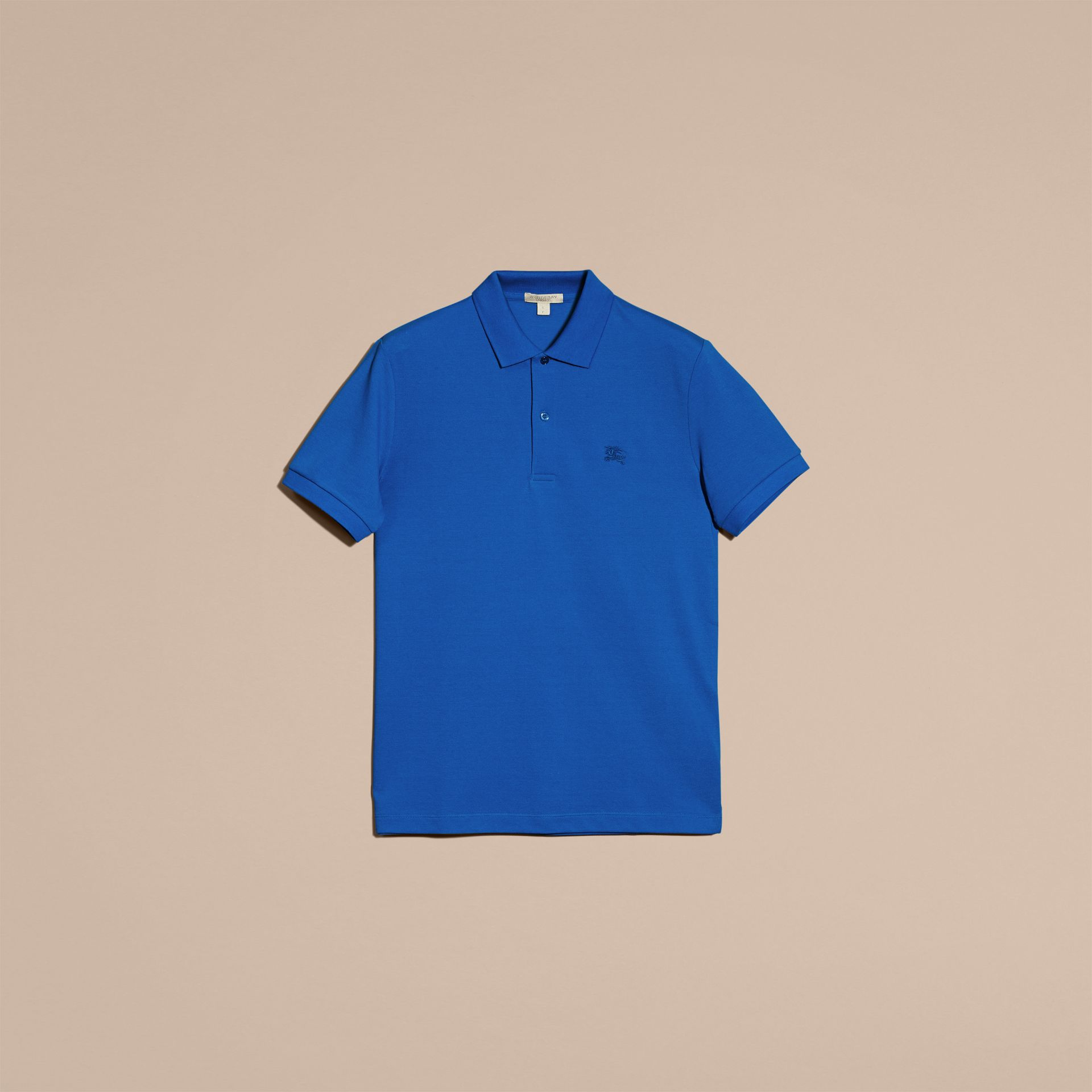 Check Placket Cotton Piqué Polo Shirt Bright Opal - gallery image 4