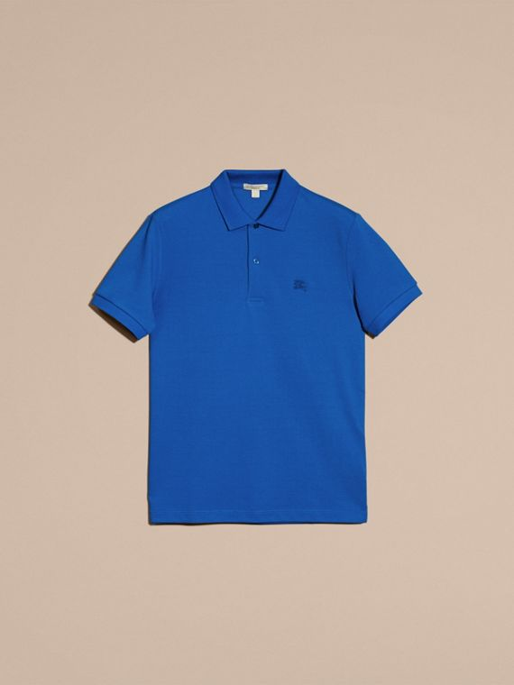 Check Placket Cotton Piqué Polo Shirt in Bright Opal - cell image 3