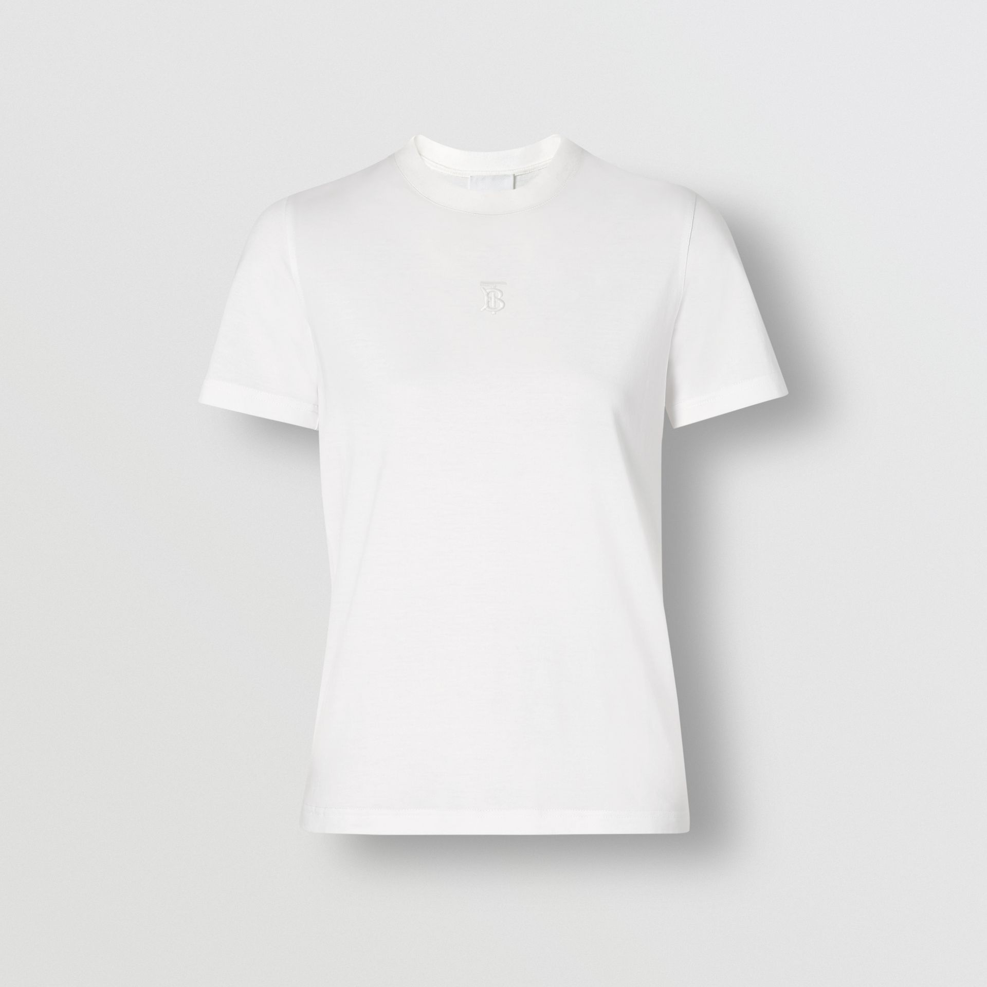 Monogram Motif Cotton T-shirt in White - Women | Burberry - gallery image 3