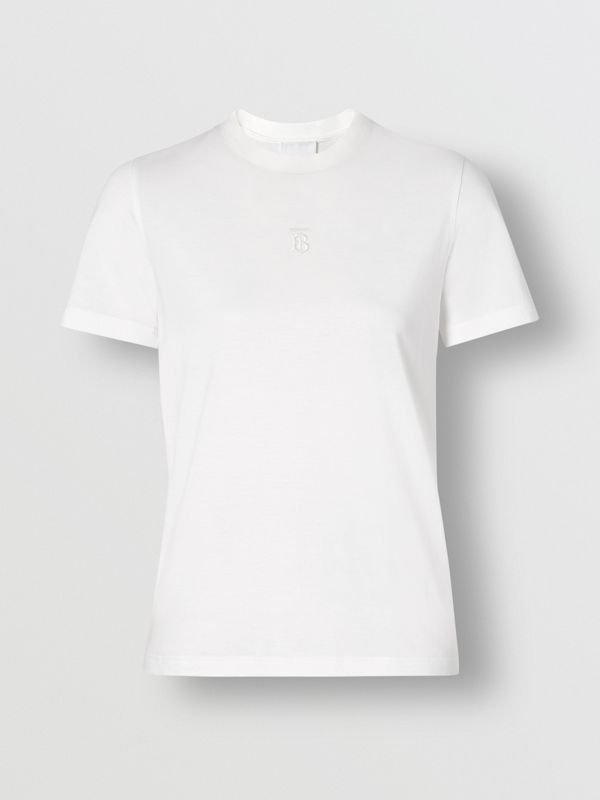 Monogram Motif Cotton T-shirt in White - Women | Burberry United Kingdom - cell image 3