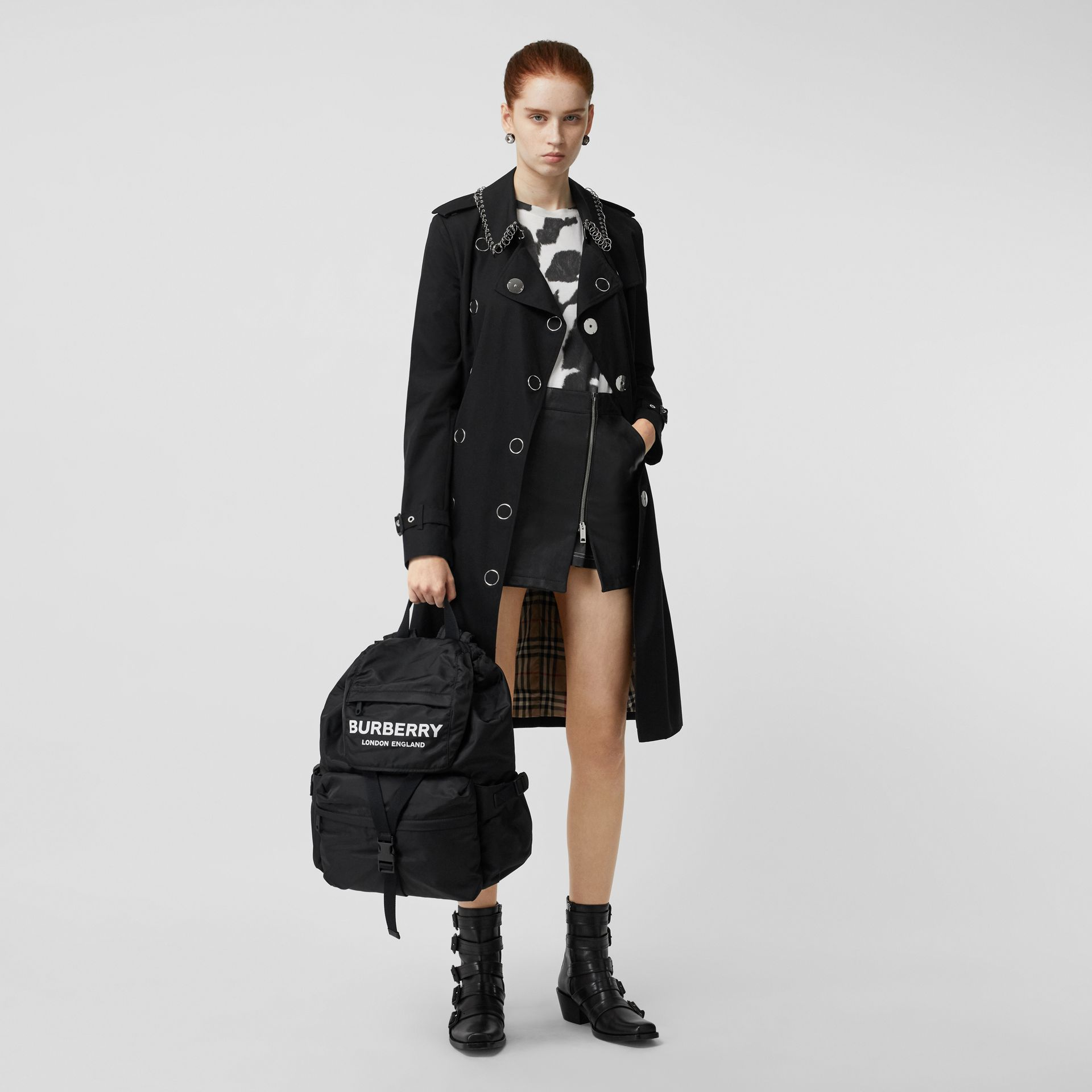 Logo Print Nylon Backpack in Black - Women | Burberry Singapore - gallery image 5