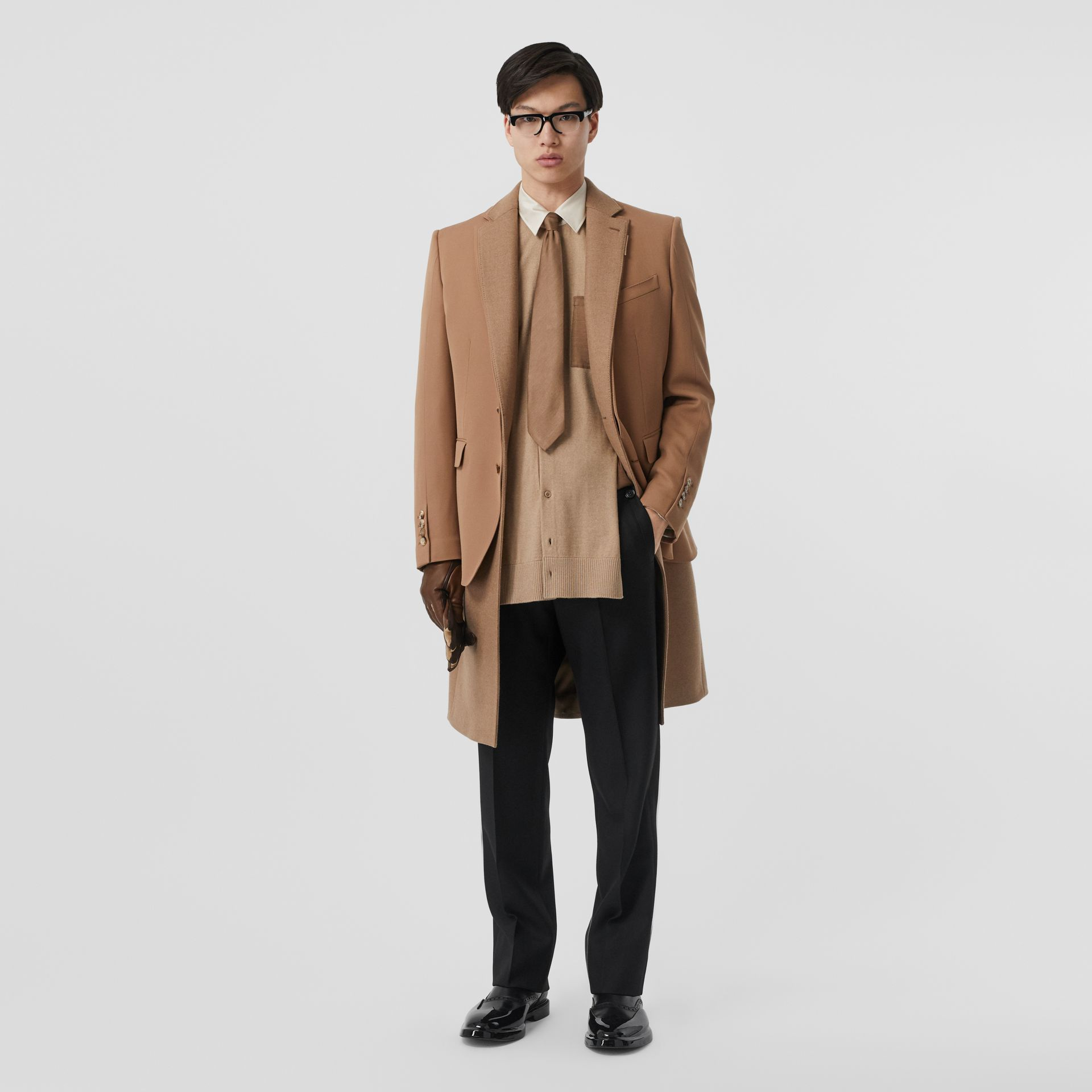 Classic Fit Panelled Silk and Merino Wool Shirt in Warm Camel - Men | Burberry United Kingdom - gallery image 4