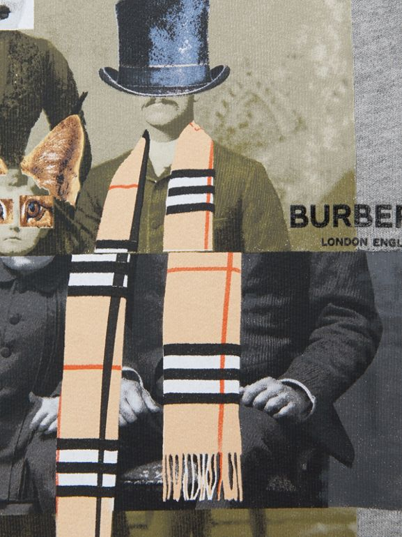 Collage Print Cotton Blend Sweatshirt in Grey Melange | Burberry Hong Kong S.A.R - cell image 1