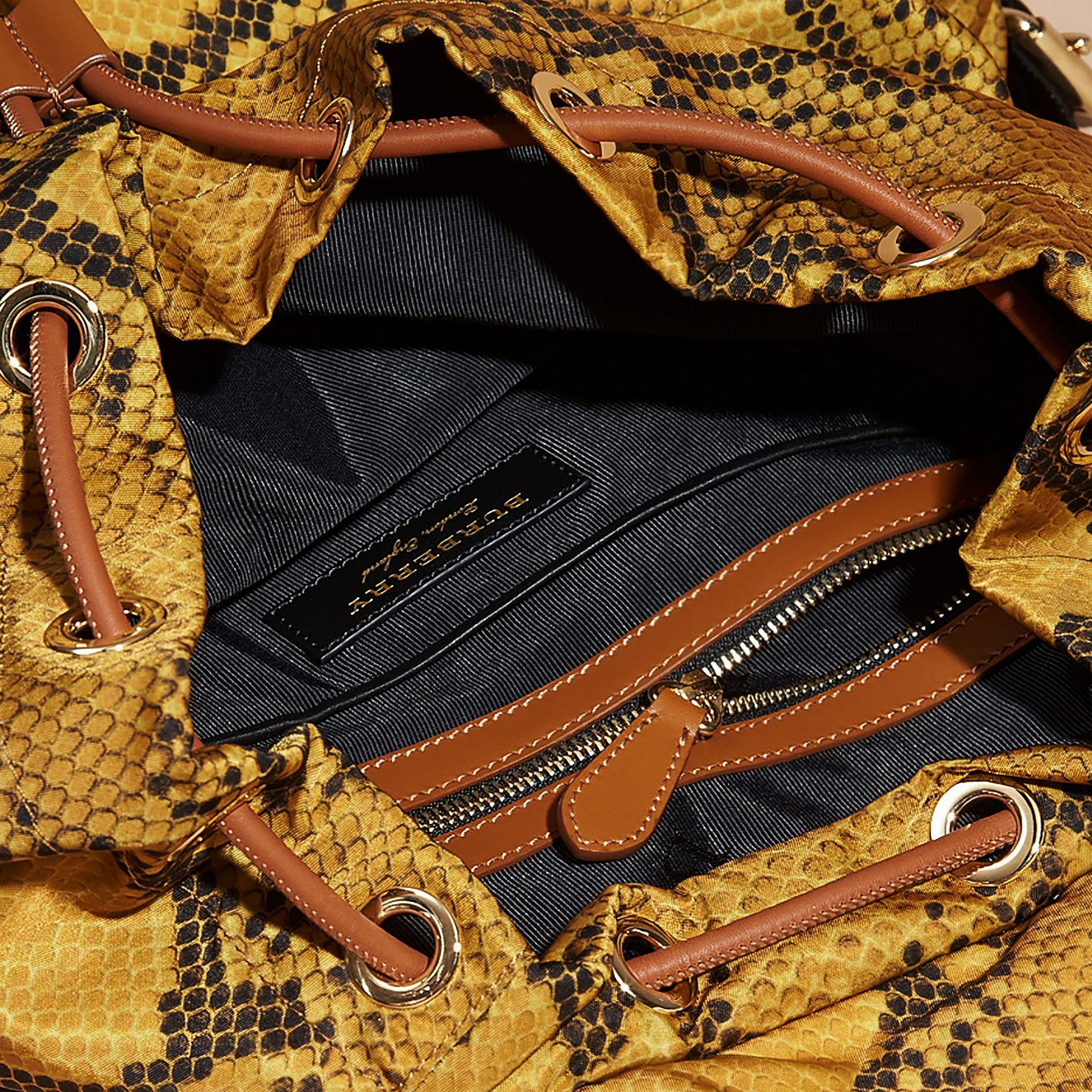 Yellow The Large Rucksack in Python Print Nylon and Leather Yellow - gallery image 7