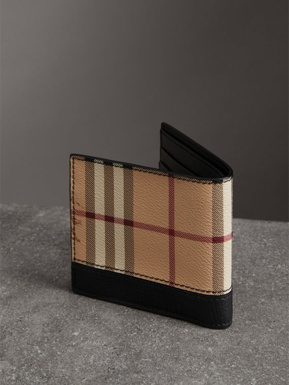 Haymarket Check International Bifold Coin Wallet in Black - Men | Burberry Singapore - cell image 2